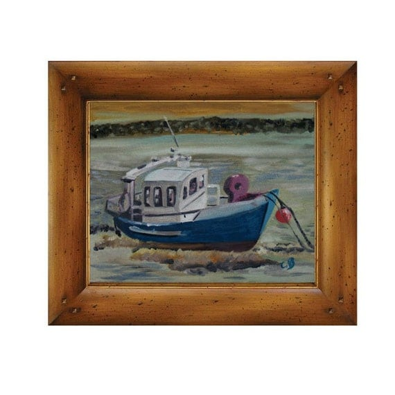 Christmas Gift Marine Painting Fishing Boat By Catherinebhogal