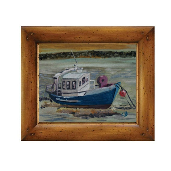 Christmas gift marine painting fishing boat by catherinebhogal for Gift ideas for fishing lovers