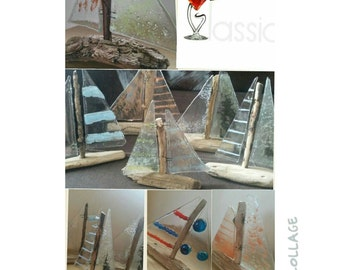 Fused glass and driftwood sailing boat