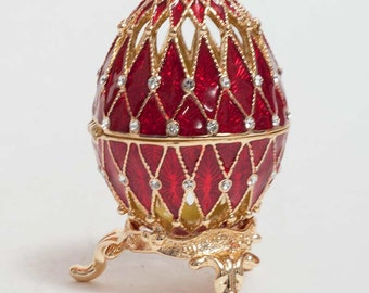 Faberge style egg gilded Openwork red jewelry box Austrian crystals - kodfb48