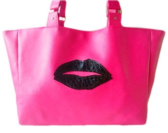 Pink and Black Lips Faux Vegan Leather Large Tote Bag