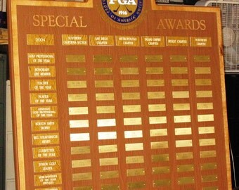 Custom carved perpetual  recognition plaque- 84 plates