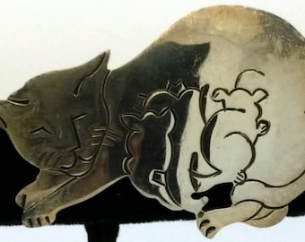Phyllis Woods 925 Sterling Silver Cat Brooch