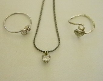 Silver Tone Heart Bow Ring and Heart Pendant Necklace with Chain