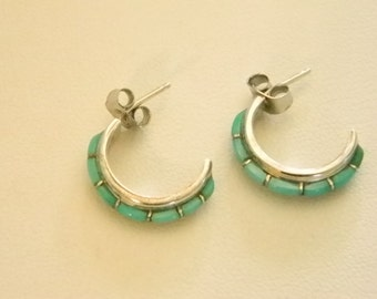 SALE !!!!!!   Zuni Turquoise Half-Hoop Pierced Earrings by NASTACIO