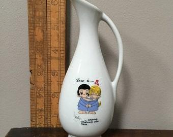 Bud Vase Vintage KIM CASALI 'Love is ...' designed character VASE - shaped like a tall jug.