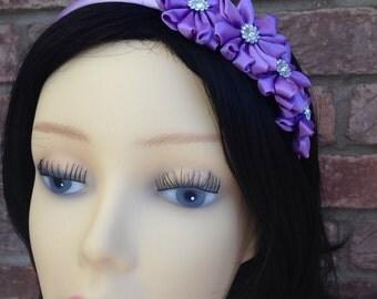 Purple Satin Ribbon Flower Girls Headband. Bridesmaid headband. Party headdress. Purple headband.