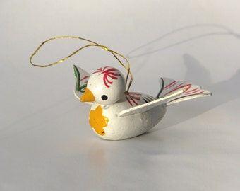 Vintage bird Christmas ornament white red green 1960s