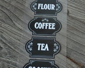 5-Piece Kitchen Canister Labels Stickers; Chalkboard Labels; Chalkboard Canister Labels