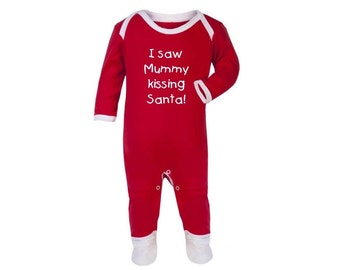 Super Cute 'I Saw Mummy kissing Santa' Sleepsuit