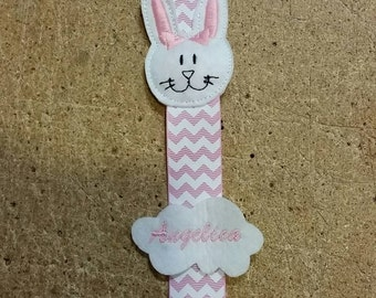 Pacifier clip homemade rabbit customized with embroidered name dummy clips
