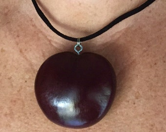SALE-Sea Heart sea bean Mermaid jewelry.  Drift seed attached to adjustable suede leather cord. Free Shipping.