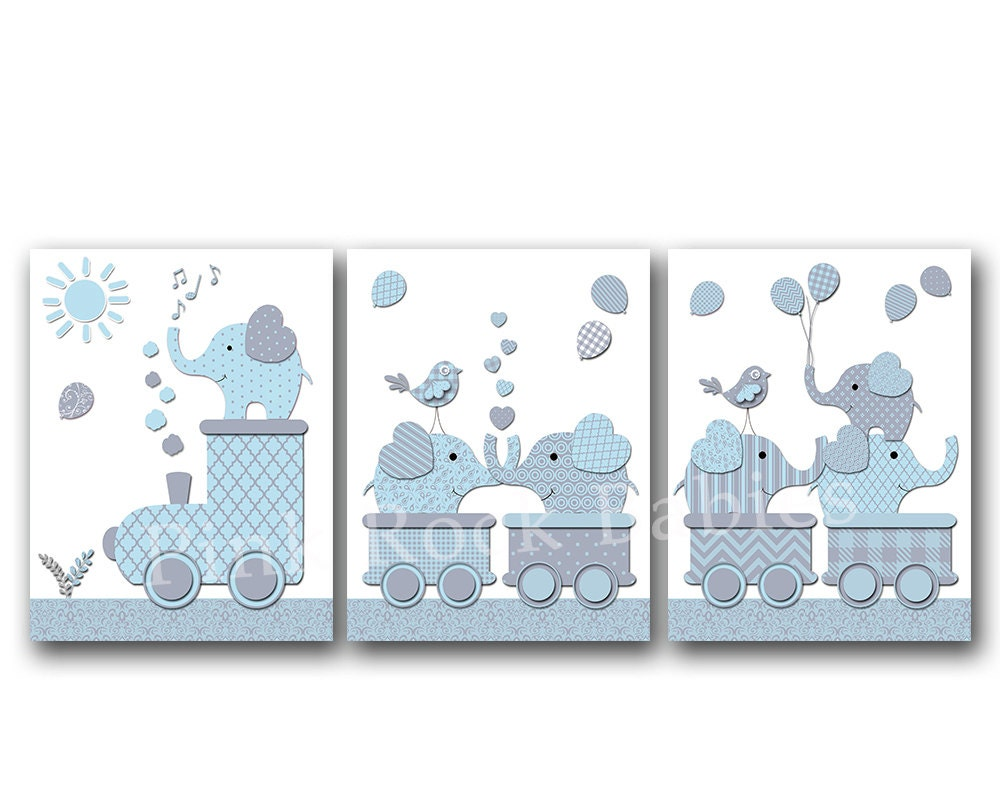 Elephant nursery wall decor kids room artwork baby boy bedroom Boys wall decor