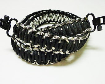 Custom Paracord Gun/Rifle Sling - Black and Black and White Camo