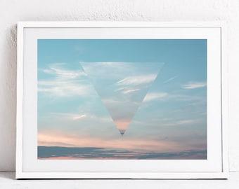 Modern minimal wall print, Printable art, Instant download, Sky print, Sunshine print, Blue sky print, Poster