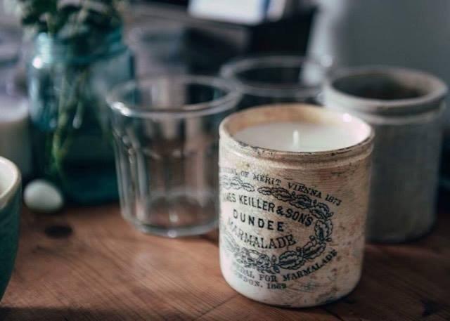 Soy Wax Candle in Vintage Marmalade Jar