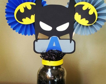 Batman Centerpiece, Batman Rosette, Batman Birthday, Batman