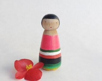 Sarape peg doll/one of a kind sarape doll/mexican sarape doll/valentine gift/birthday gift/dollhouse little girl/sarape jewelry box