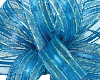 """New  5/8"""" Teal Blue Corsage Ribbon, Turquoise Corsage Ribbon, 2yds Corsage Ribbon"""