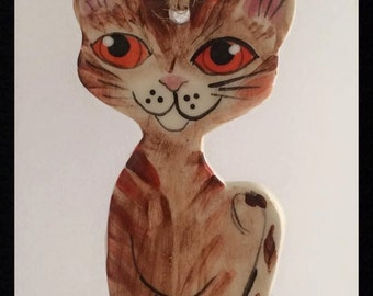 Tabby cat wall hanging ceramic gift pet lover
