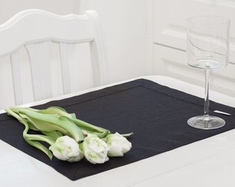 Black and elegant Linen Placemats, Gray Placemats, Cloth Placemats, Table Placemats, Table Linens, Custom placemats, table linens.