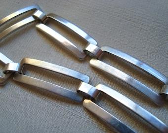 Vintage Sterling Silver Geometric Rectangular Link Bracelet Modern Retro Mid Century Estate Vintage Revival