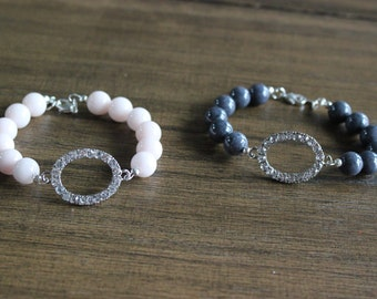 Rhinestone charm bead bracelet