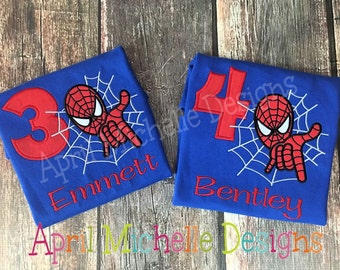 Spiderman Birthday Shirt, Personalized Spiderman, Boys Appliqued Shirt, Boys Birthday Shirt, Boys spiderman, Blue Shirt