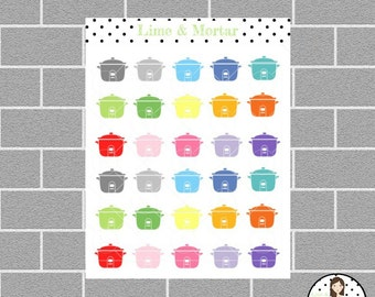 Slow Cooker Mini Icon Planner Stickers