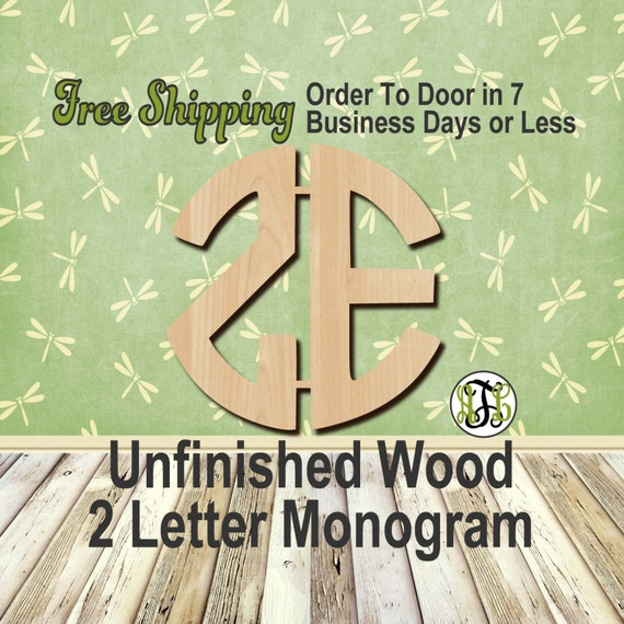 2 Letter Monogram Unfinished Woodet Circle, Craft, laser cut wood, wedding, wood cut out, wall, Custom, Personalized, wooden, wreath accent