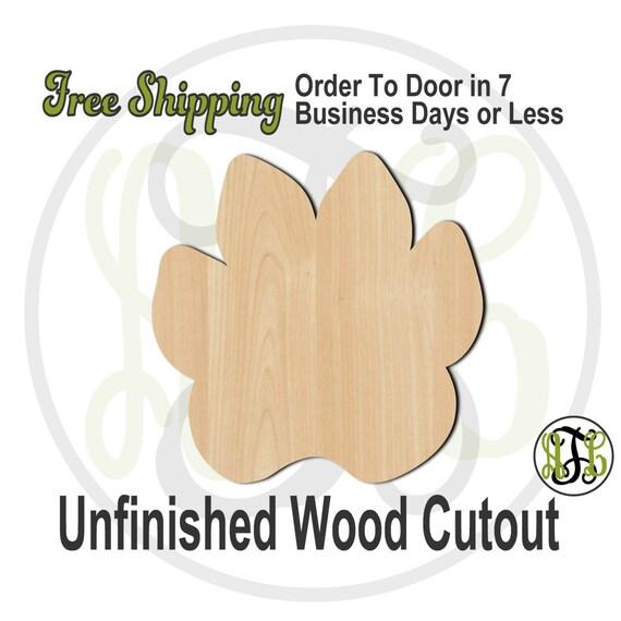 Paw - 230030- School Spirit Cutout, unfinished, wood cutout, wood craft, laser cut shape, wood cut out, Door Hanger, wooden, wall art
