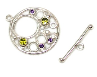 Handmade Toggle, Designer Handmade Sterling Silver Toggle with Purple and Green Cubic Zirconia, Artisan Toggle, Circle Toggle