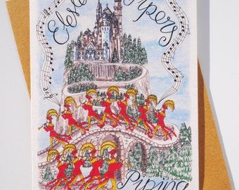 Eleven Pipers Piping Chrsitmas Card