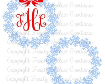 Snowflake Wreath Monogram Frame cutting file SVG instant download PERSONAL USE only!