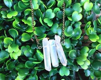 Raw Quartz Crystal Trio Necklace