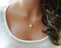 White Opal Necklace, Sterling Silver, Opal, Girlfriend Gift, Bridal Jewelry, Minimal Necklace [1012] [104 L]