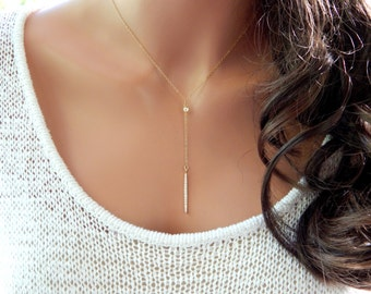 Lariat Necklace, CZ Lariat Y Necklace, Minimal Necklace, Diamond Lariat Necklace, Girlfriend Gift, Gold Lariat Choker [515]