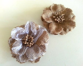 Burlap Flower - Natural Rustic small medium size with lace for Invitations, cards, scrapbooking - Pure Invites