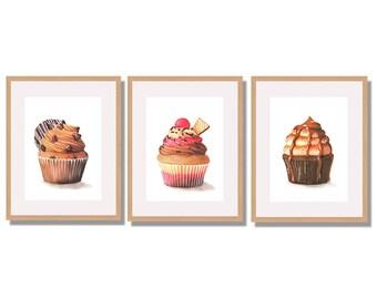 Food Illustration Set of 3 Cupcake Watercolor Art Prints, Dessert Illustration, Kitchen Decor, Watercolor Food Illustration, Realistic Art