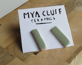 Green Ceramic Earrings - Rectangle