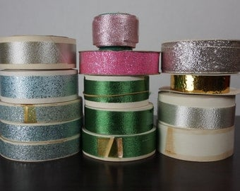 Vintage Lot of Metallic Ribbons on Original Spools-Gorgeous for Bows or Decor