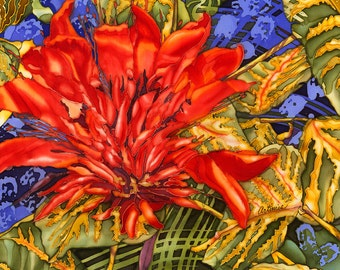 Tiger's Claw Art Print Reproduction of an Original Silk Painting by Artimis. With White Matte border. 13x13 inches.