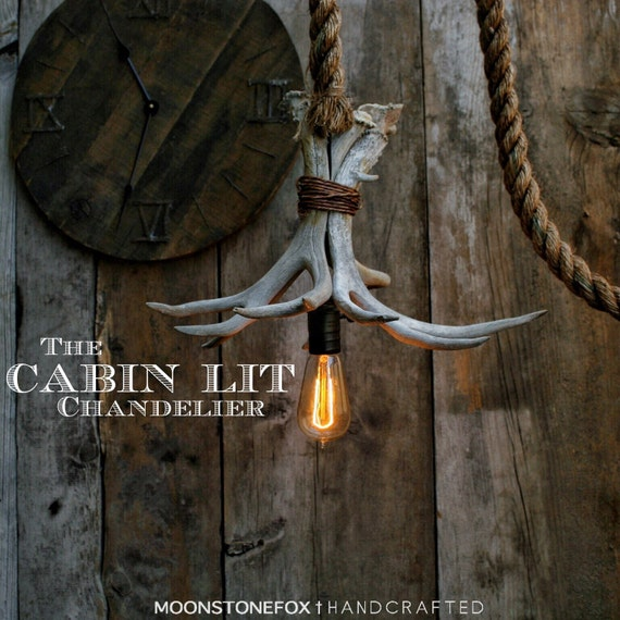 The Cabin Lit Chandelier Antler Pendant Light Rope Light