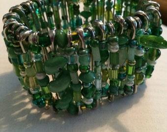 Elastic Beaded Safety Pin Bracelets by Rae (Large)