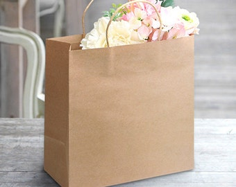 5 x Kraft Paper Bags with Handle / Blue / Kraft Shopping Bags ...