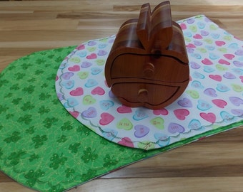 Reversible Valentine's and St. Patrick's Day Holiday Table Runners