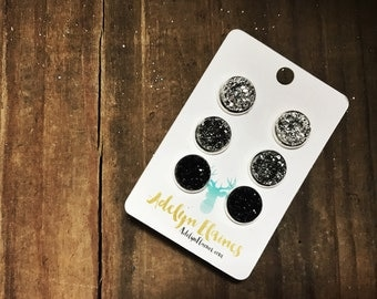 12 mm Black Ombre Set: Metallic Silver Gunmetal & Black Druzy Earring Studs