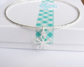 Sterling Silver Stacking Bangle with a Daisy Charm - Choose Size and Thickness