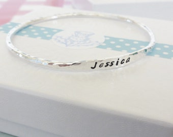 Handmade 2.5mm Sterling Silver Personalised Bangle - NAME - WORD or DATE