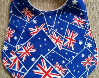Australia Day, blue cotton print with Australian flags, plain white minky backing, Australian handmade